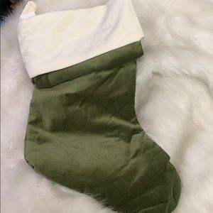 Pottery Barn Velvet Green Ivory Holiday Stocking